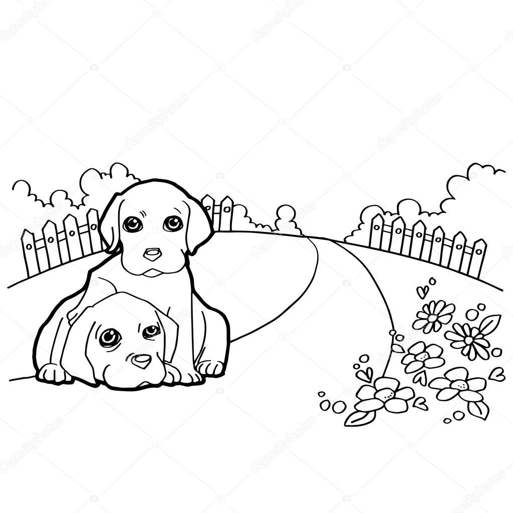 Libro para colorear con el perro y paisaje — Archivo Imágenes ...