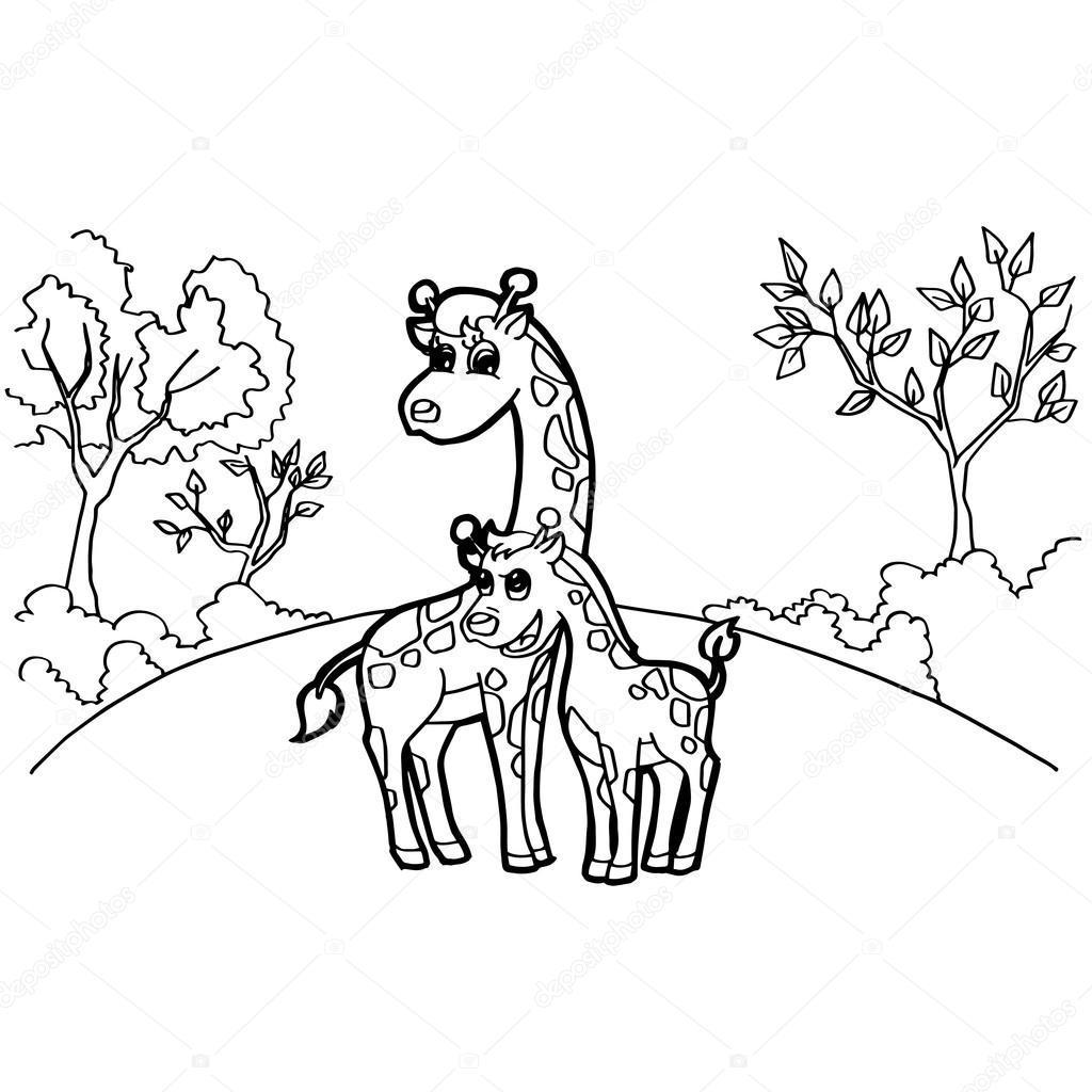 dibujos animados de jirafa para colorear vector páginas — Archivo ...