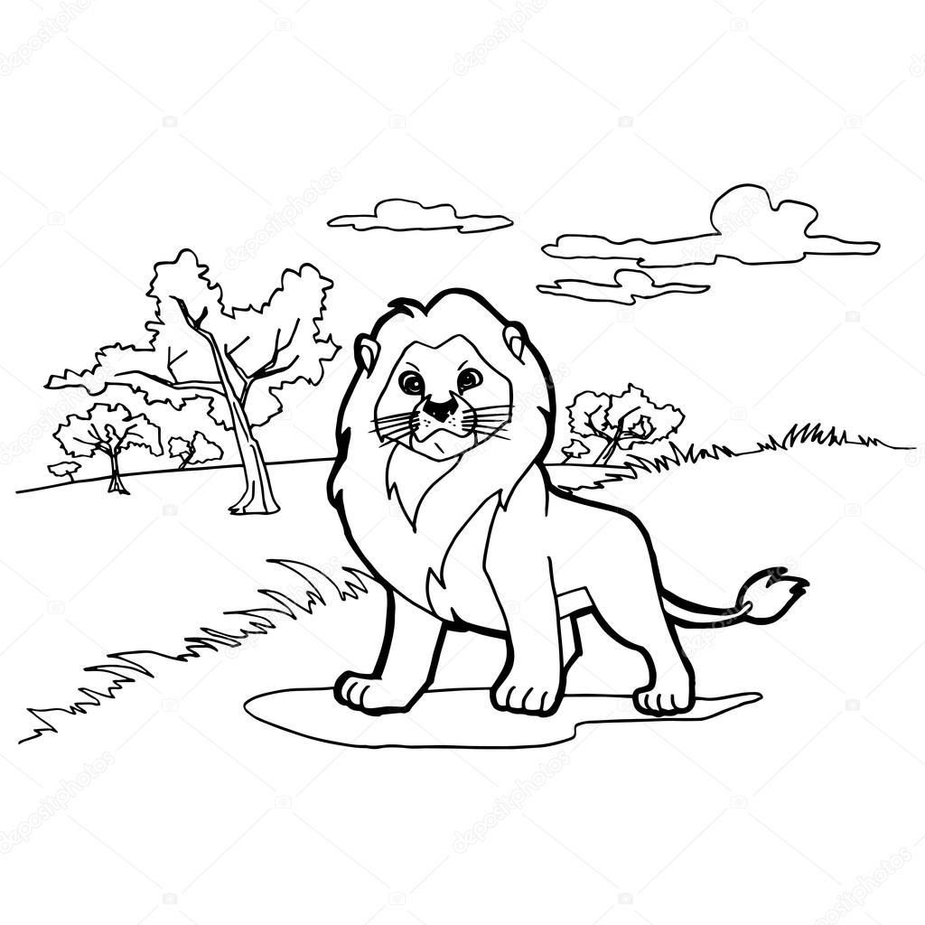 dibujos animados de León para colorear vector páginas — Archivo ...