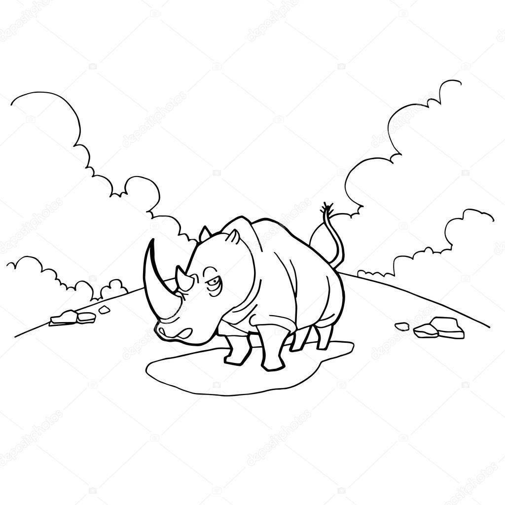 dibujos animados de rinocerontes para colorear vector páginas ...