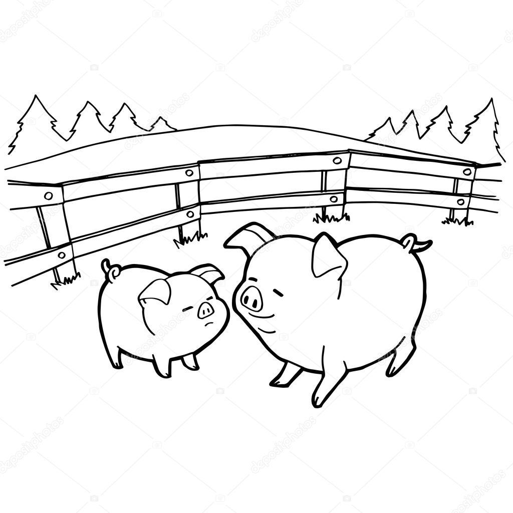 páginas para colorear de cerdo de la historieta del vector — Vector ...