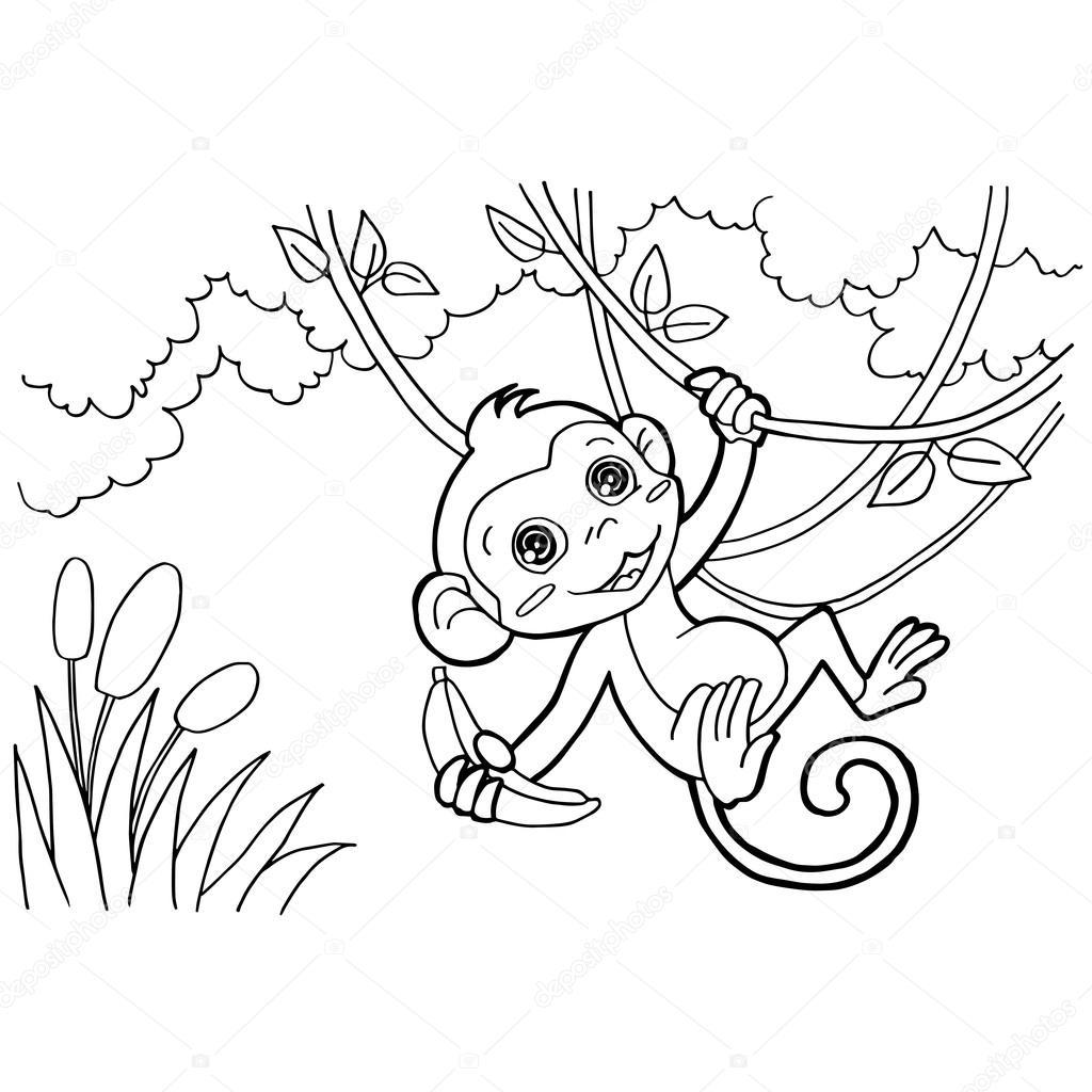 páginas para colorear de mono de dibujos animados vector — Vector de ...