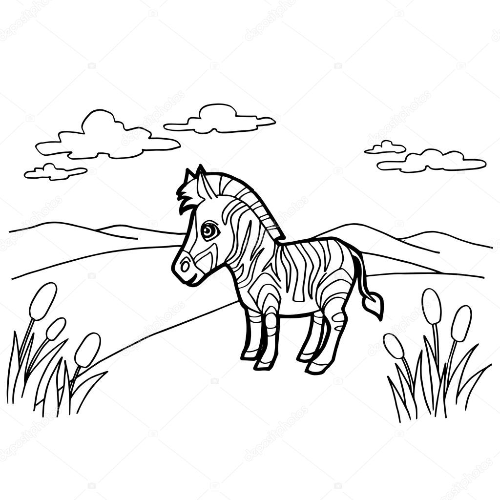dibujos animados de cebra para colorear vector páginas — Vector de ...