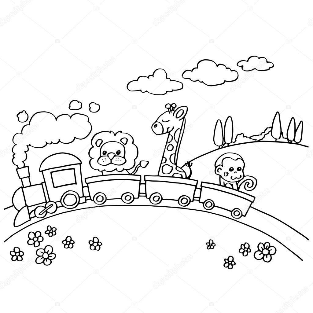 Animal Train Coloring vector 10