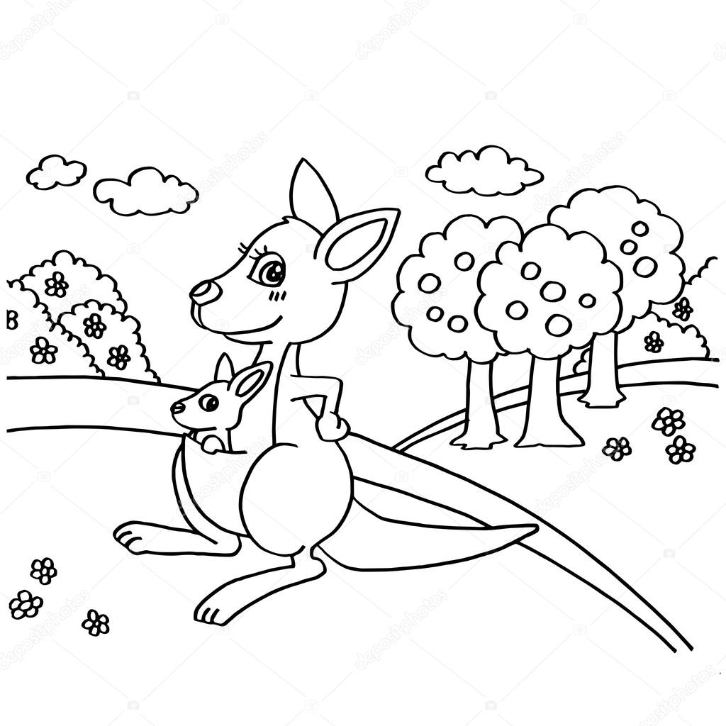 Kangaroo Coloring Pages Vector Stock Vector C Attaphongw 82116672