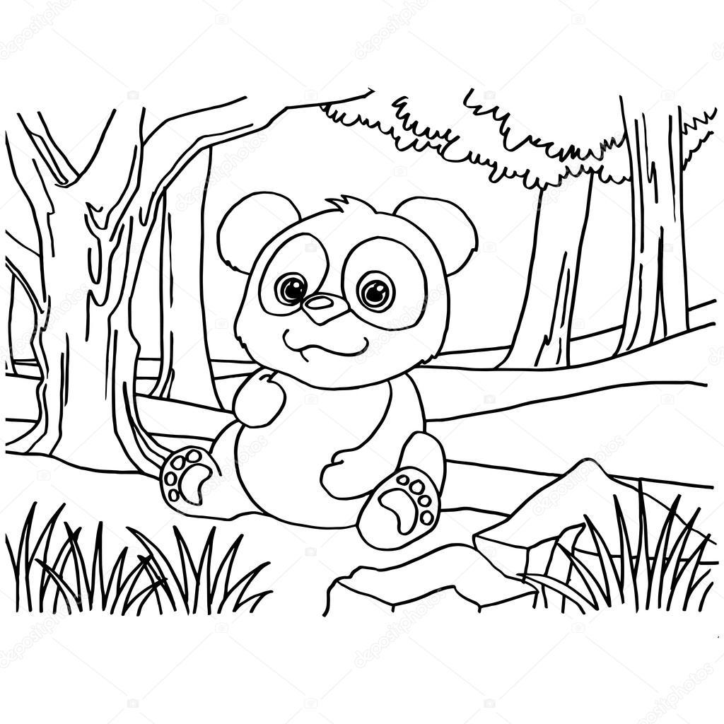 Vector De Oso Panda Gigante Para Colorear Páginas Archivo Imágenes