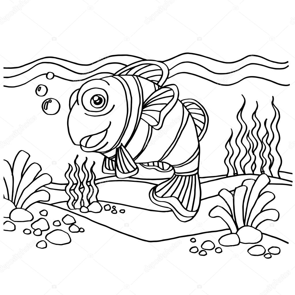 clownfish coloring pages vector — Stock Vector © attaphongw #82116700