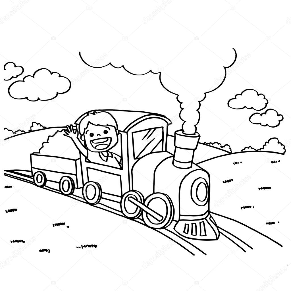Tren Boyama Sayfaları Vektör Stok Vektör Attaphongw 82116756