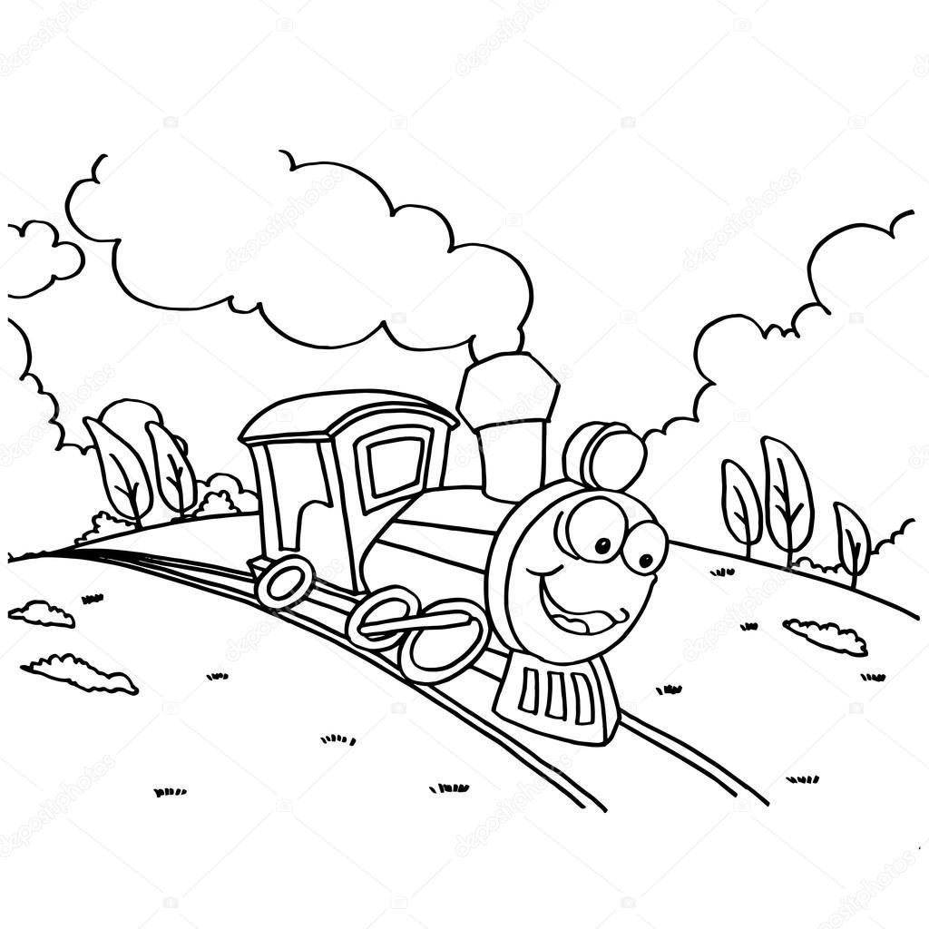 çocuklar Için Boyama Resimleri Tren Vektör Stok Vektör