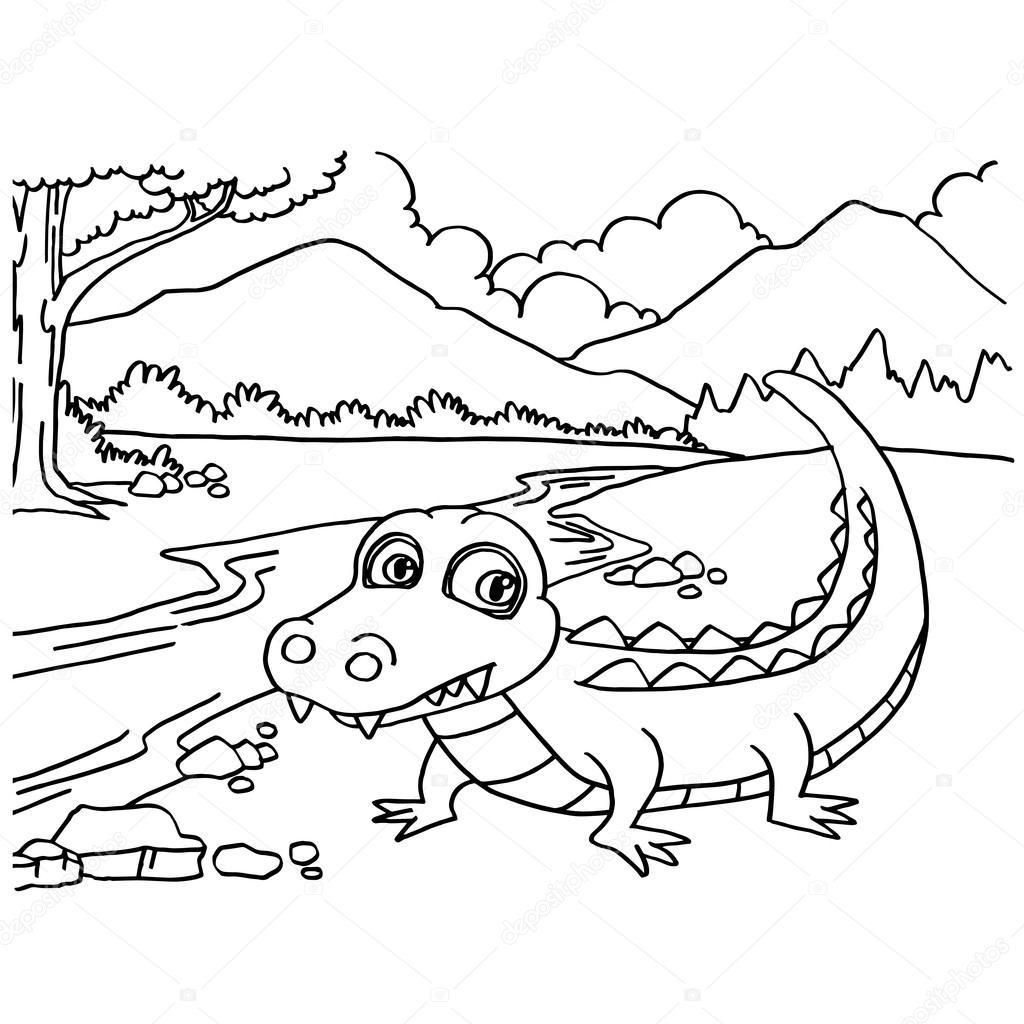 Pagine da colorare coccodrillo vector vettoriali stock for Coccodrillo da colorare