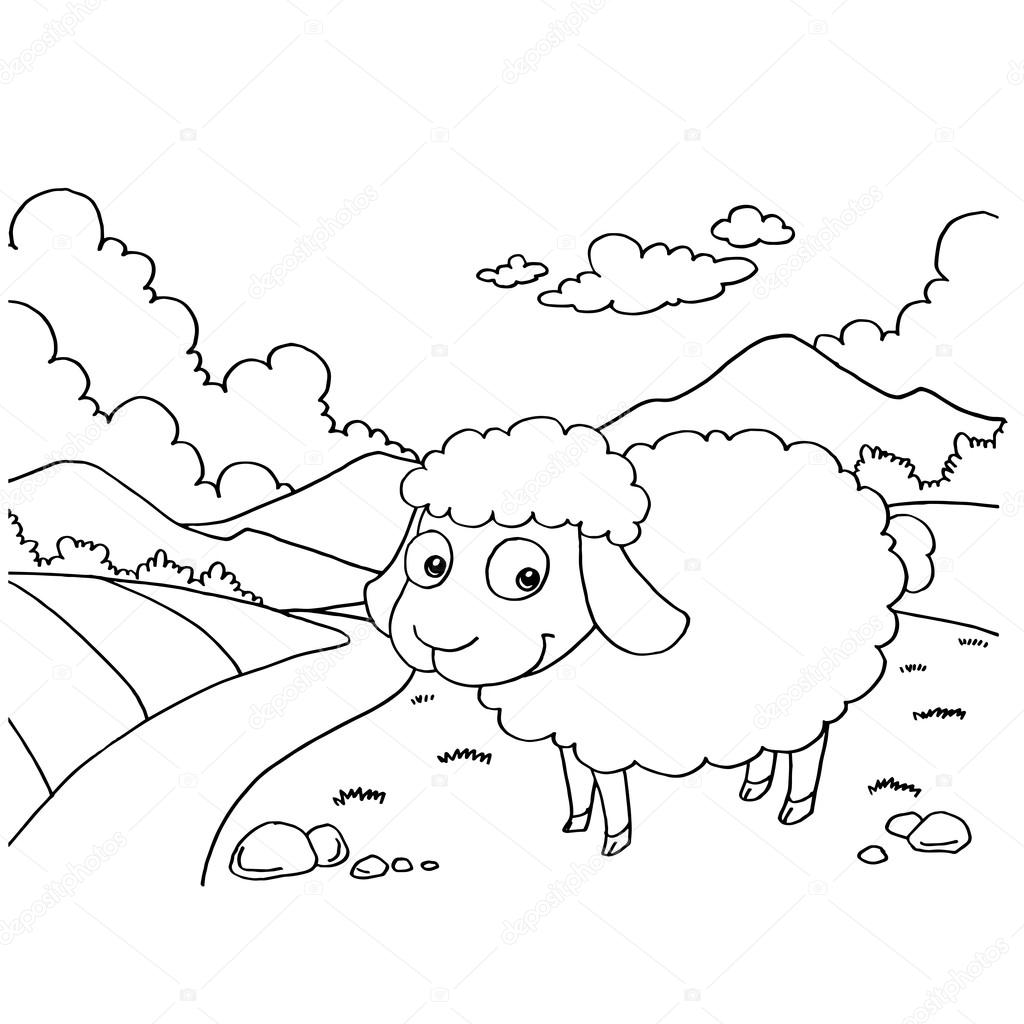 Sheep Colouring Pages vector — Stock Vector © attaphongw #83494806
