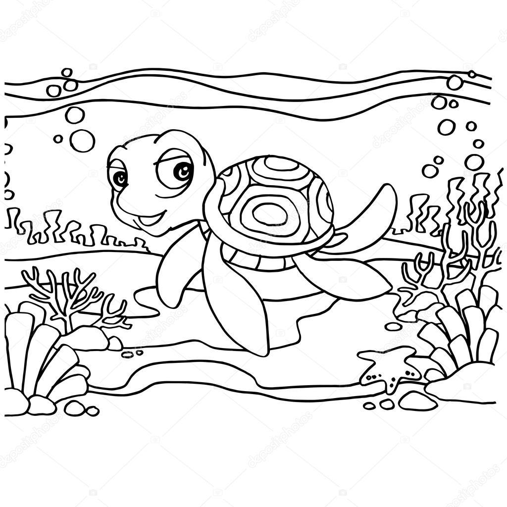 Vector de páginas para colorear de tortugas — Archivo Imágenes ...