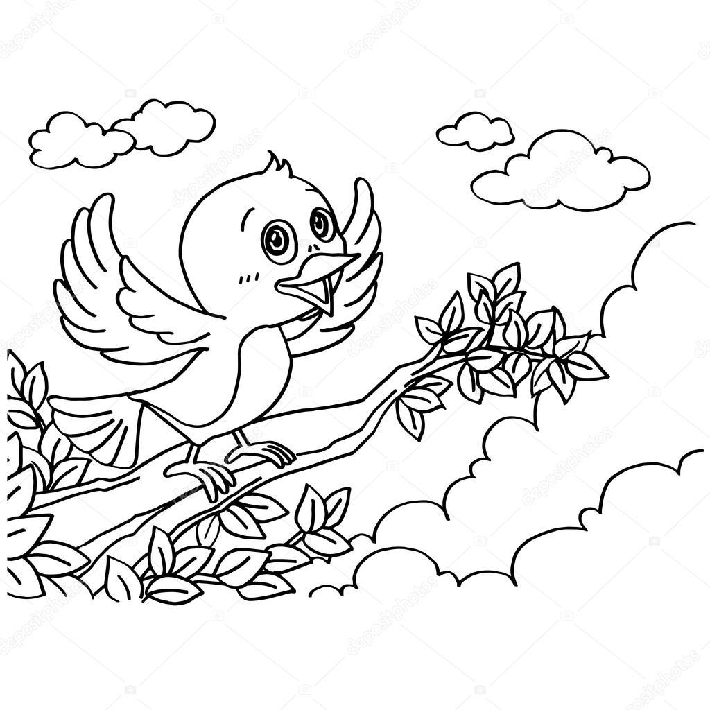 Kuş Boyama Sayfaları Vektör Stok Vektör Attaphongw 84862936