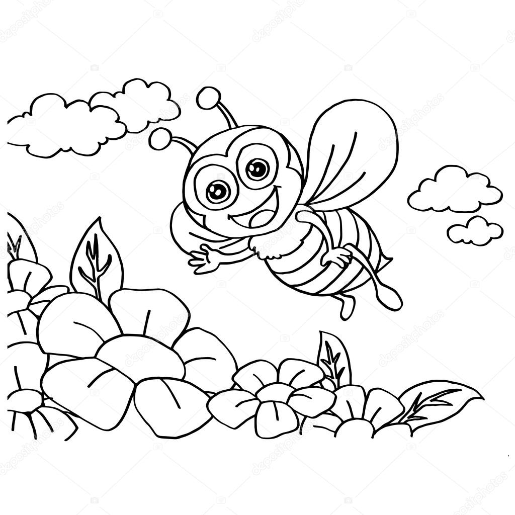 - Honey Bee Coloring Page Bee Coloring Pages Vector — Stock Vector