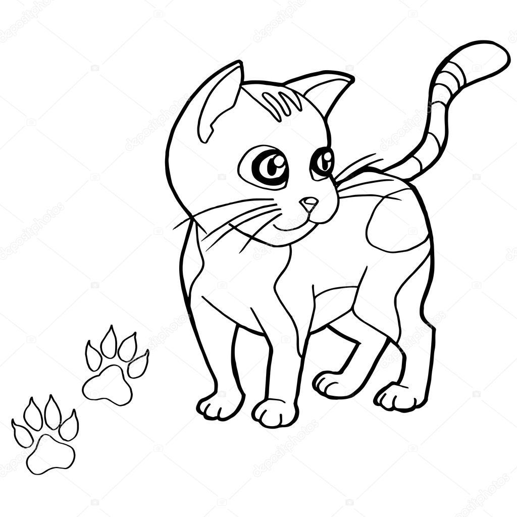 Kedi Boyama Sayfaları Vektör Ile Pençe Yazdır Stok Vektör