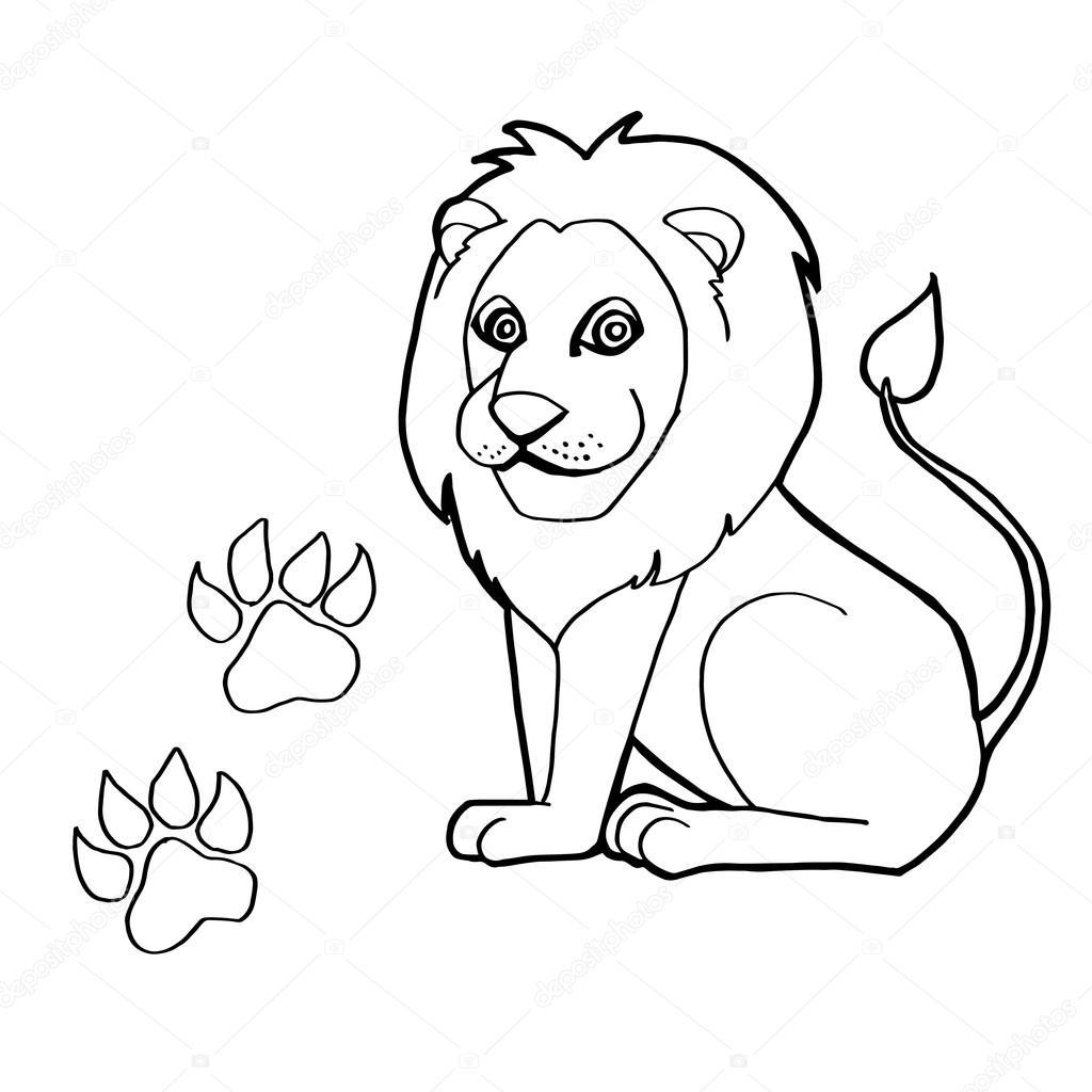 impresión de la pata con leones para colorear páginas — Vector de ...