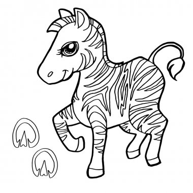 paw print with zebra Coloring Pages vector