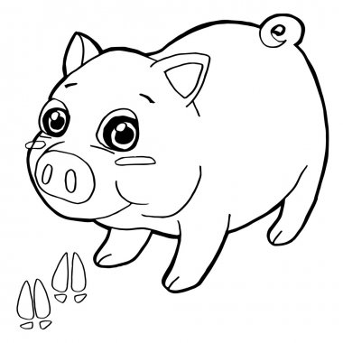 pig with paw print Coloring Pages vector