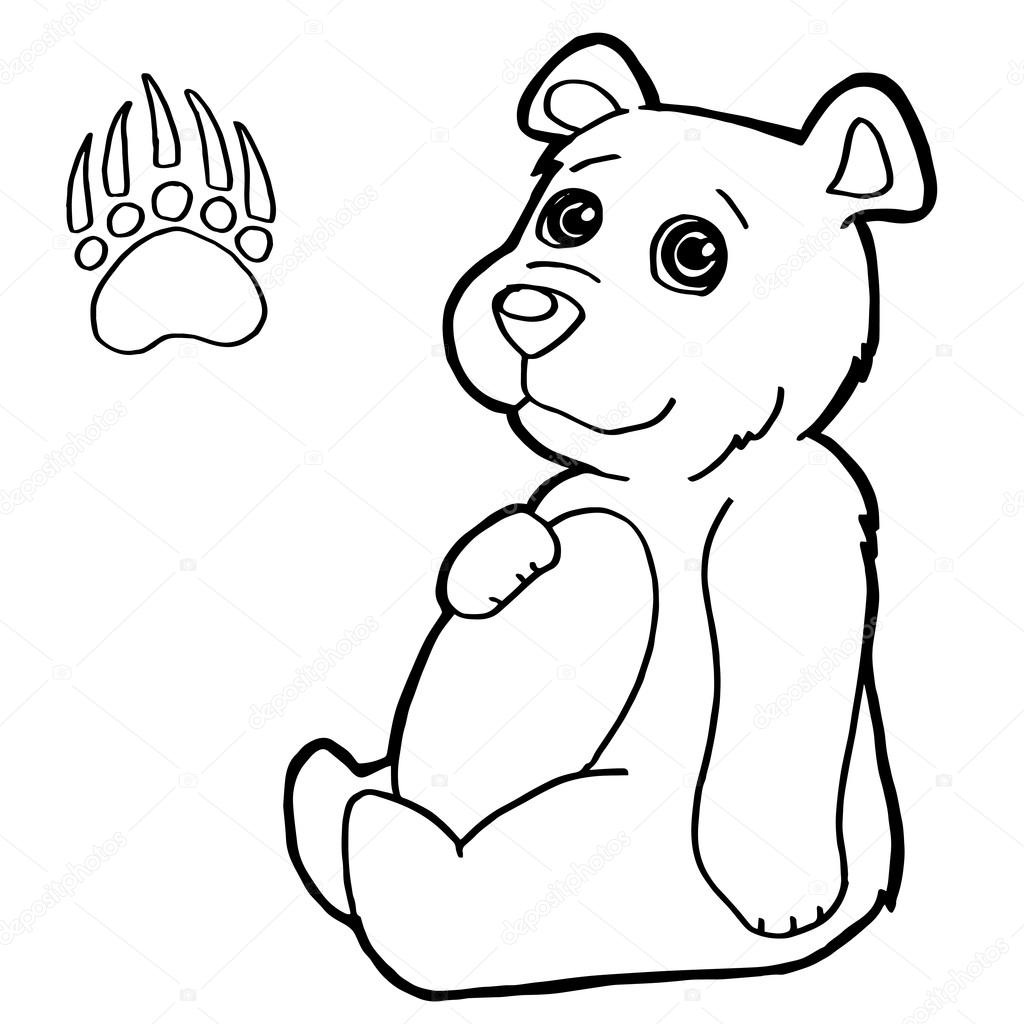 bear with paw print coloring pages vector stock vector 85581438