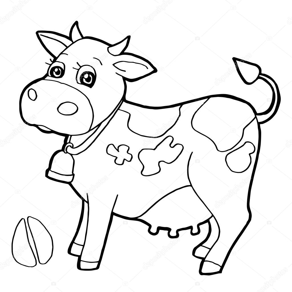 cattle with paw print coloring page vector u2014 stock vektor
