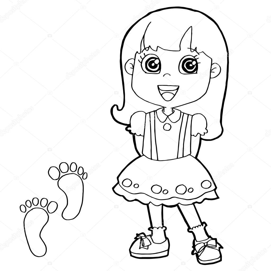 ребенок с лапы печати раскраски страницу вектор векторное