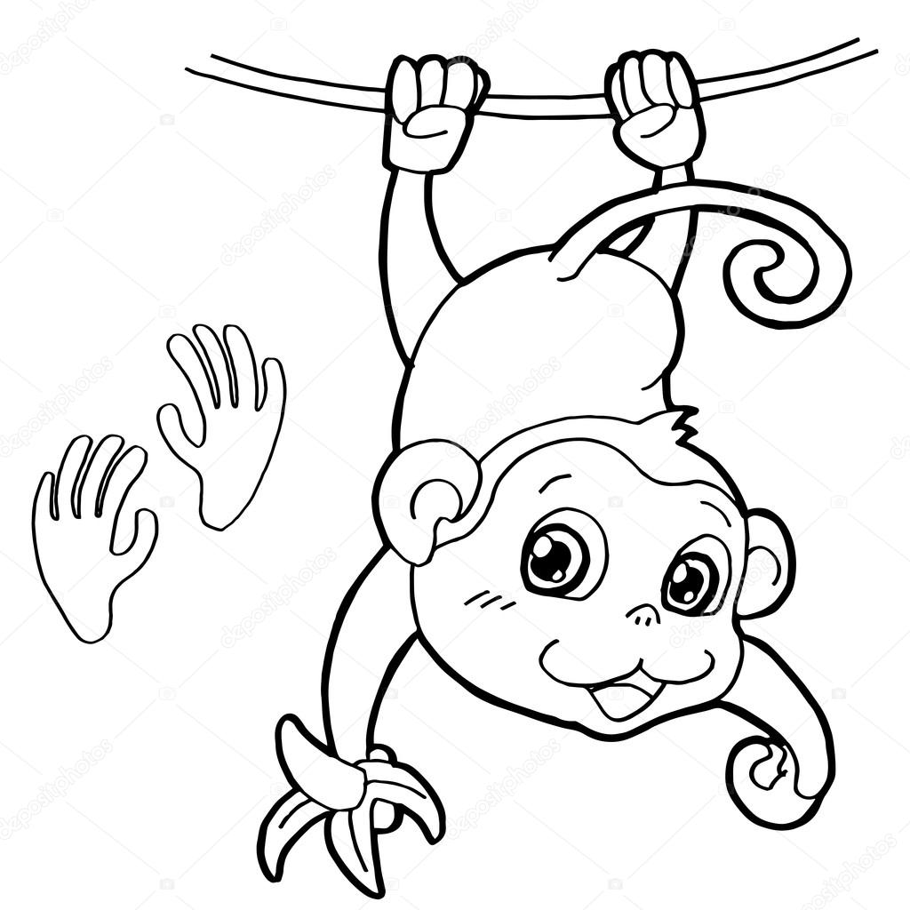 monkey with paw print Coloring Page vector — Stock Vector ...