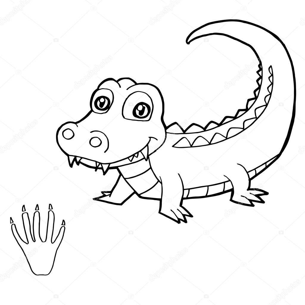 paw print with crocodile coloring pages vector stock vector 85582446 - Crocodile Coloring Pages Print