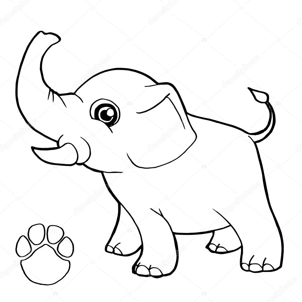 poot afdrukken met olifant kleuren pagina vector