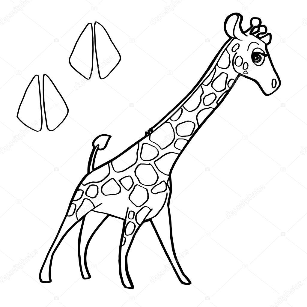 Zürafa Boyama Sayfaları Vektör Ile Pençe Yazdır Stok Vektör
