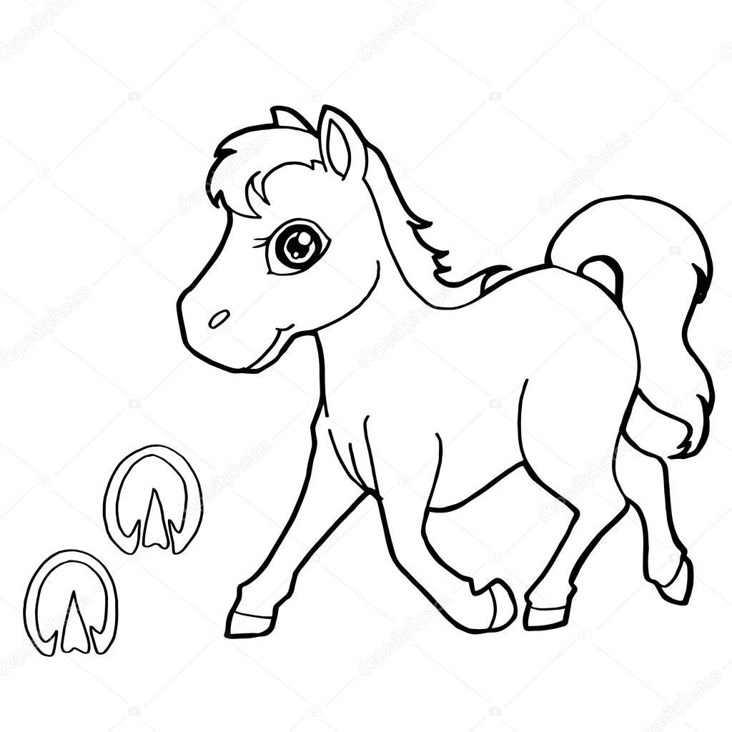 impresión de la pata con el vector de caballo para colorear — Vector ...