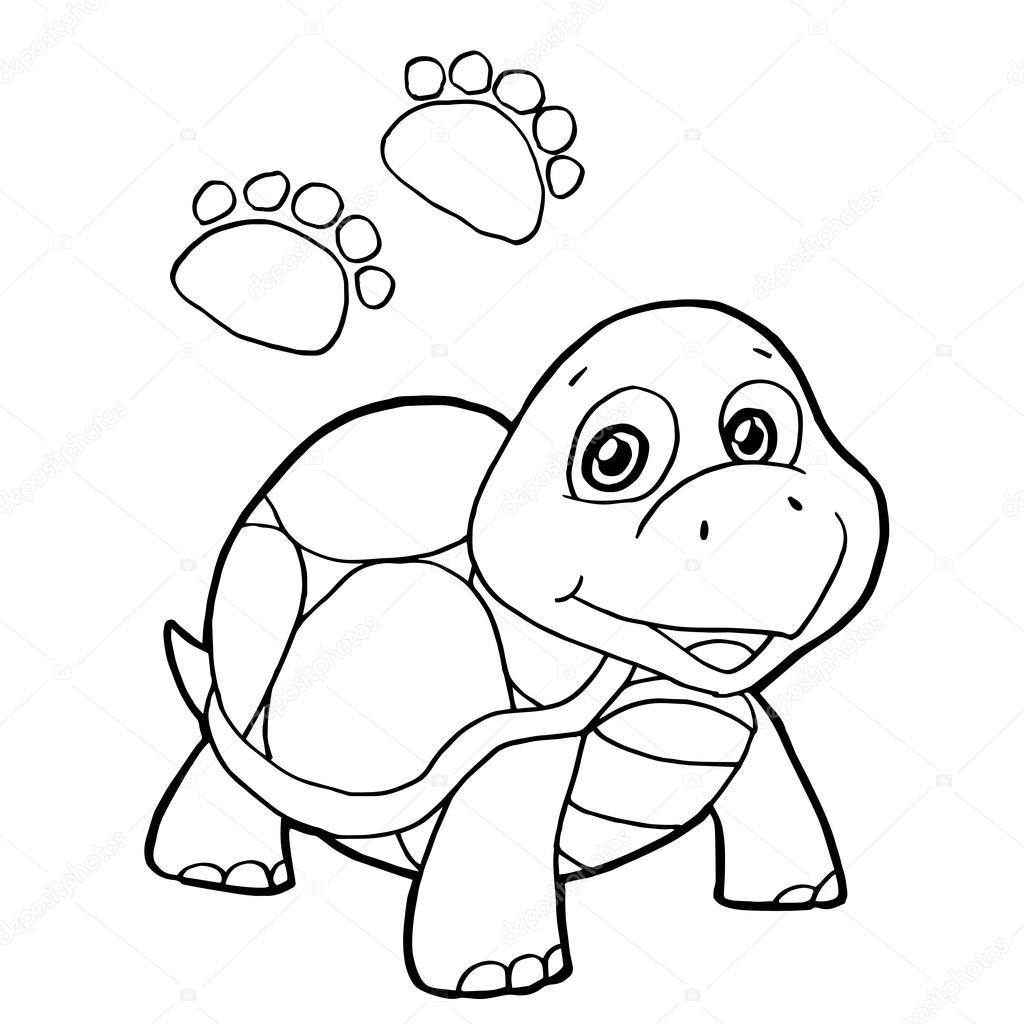 impresión de la pata con tortuga vector página para colorear ...