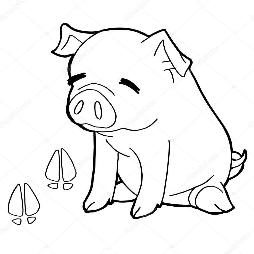 cerdo con pata imprimir que páginas para colorear vector — Archivo ...