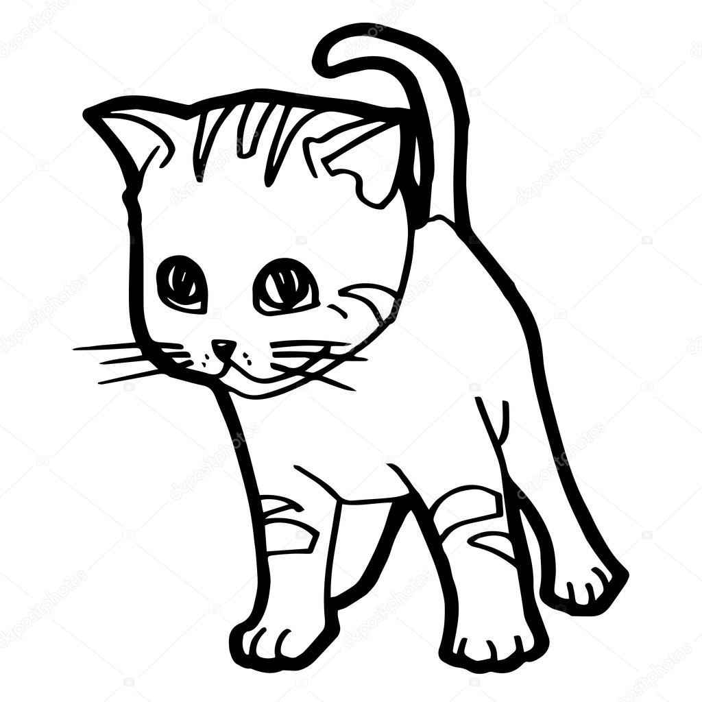 Cartoon Cat Coloring Page For Kid Isolated On White Stock Vector