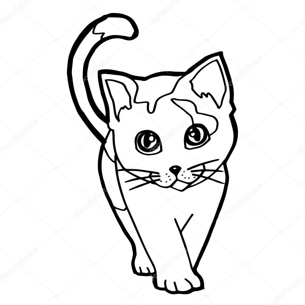 Fumetto Del Gatto Da Colorare Per Ragazzino Isolato Su Bianco