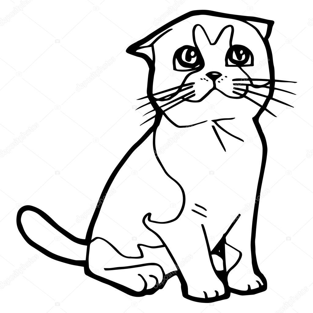 Coloriage Chat Blanc.Dessin Anime Chat Coloriage Pour Enfant Isole Sur Blanc Image