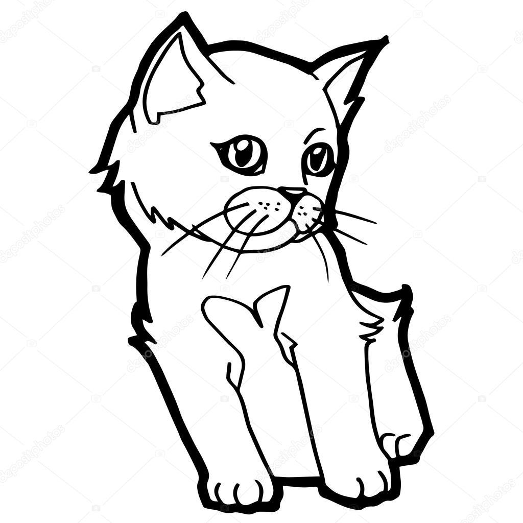 çocuk Beyaz Izole Için Karikatür Kedi Boyama Sayfası Stok Vektör