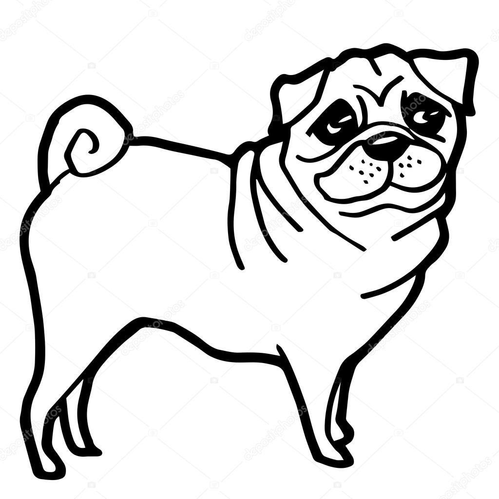 Ilustración de dibujos animados de perros divertidos para colorear ...
