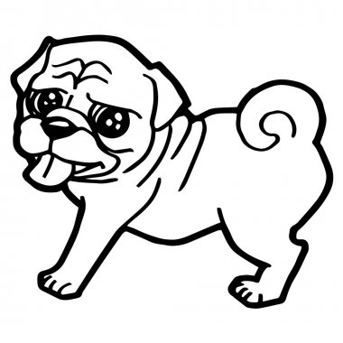 Cartoon Illustration of Funny Dog for Coloring Book