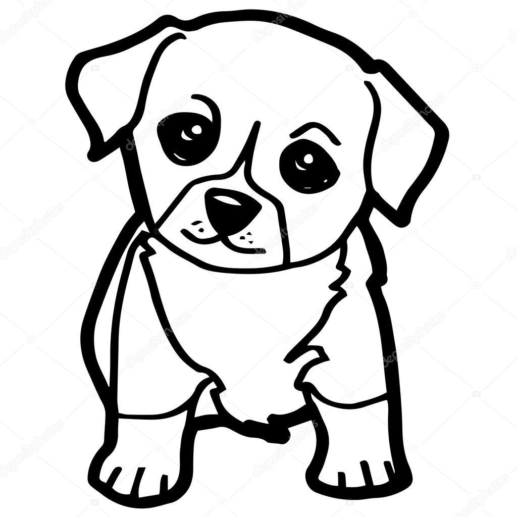 Dibujo Perro Sentado Para Colorear Ilustración De Dibujos