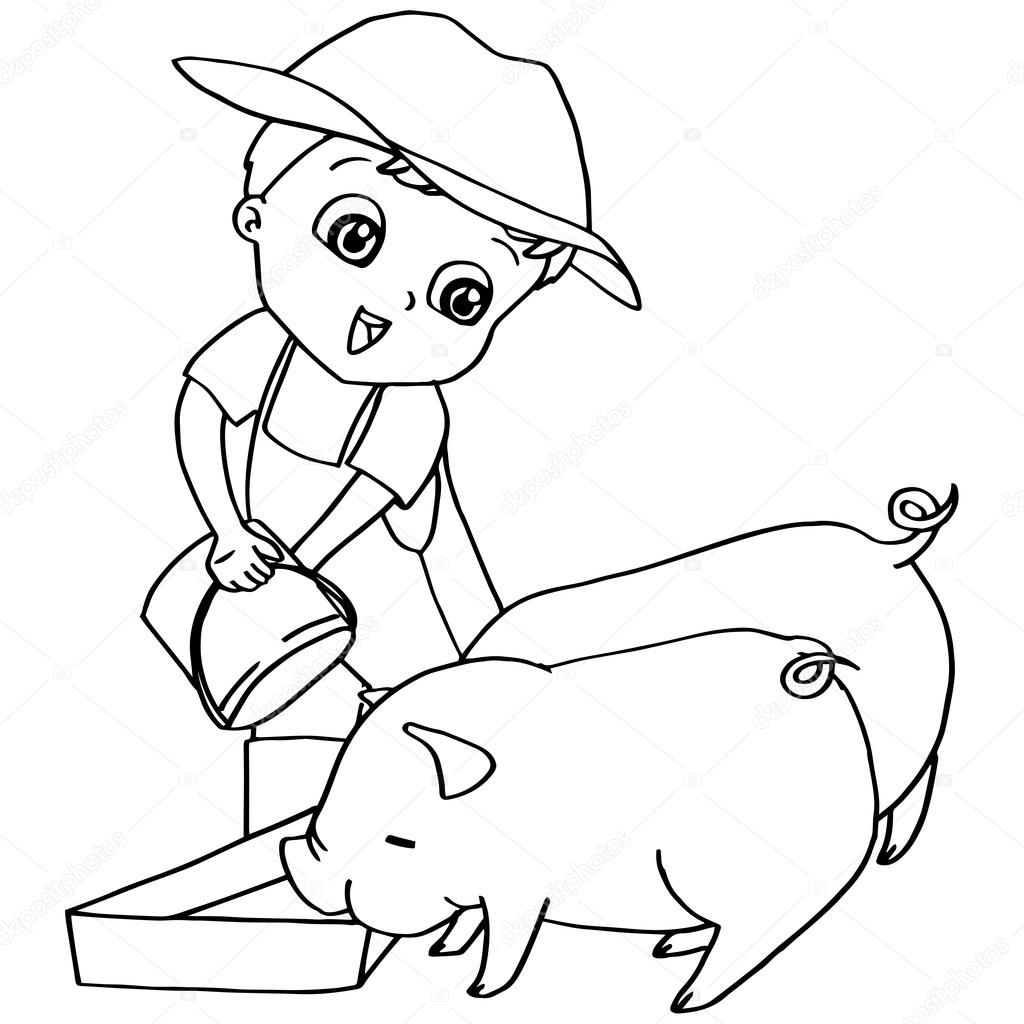 Para colorear vector libro niño de alimentación cerdos — Vector de ...