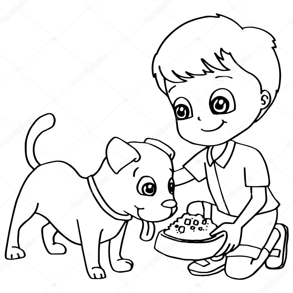 Para colorear vector libro niño de alimentación perro — Vector de ...