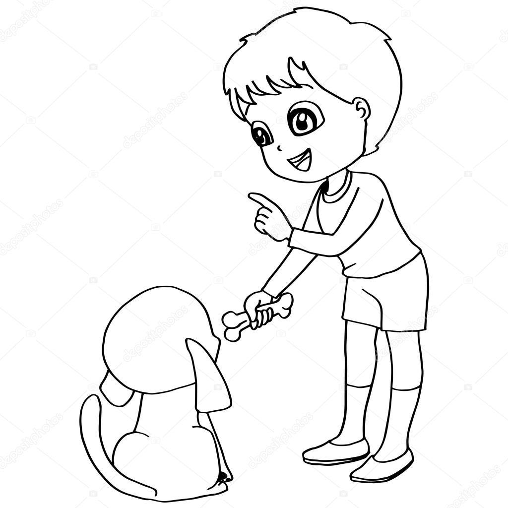 Para colorear vector libro niño de alimentación perro — Archivo ...
