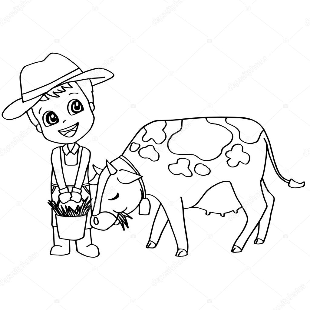 Kitap çocuk Beslenme Inek Vektör Boyama Stok Vektör Attaphongw