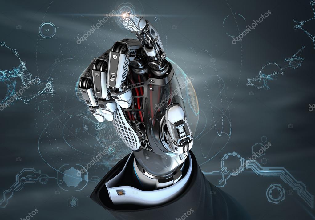 High Quality Robotic Mechanical Hand Design Concept Stock Photo