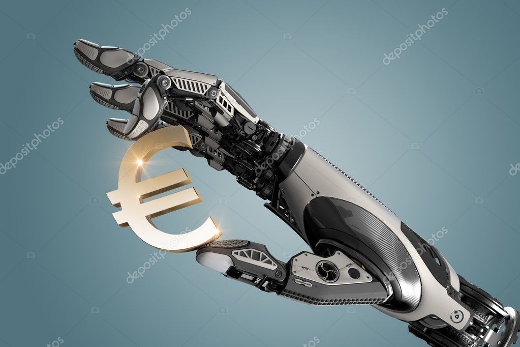 Robotic Arm Holding Currency Symbol Of Euro With Fingers Stock