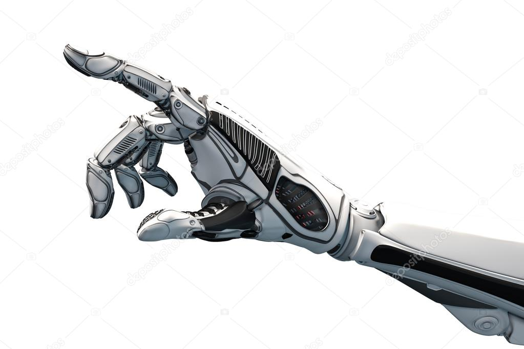 Robot Hand Pointing With Index Finger Stock Photo