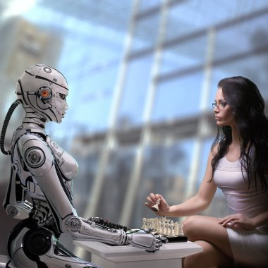 Woman Playing Chess with Robot