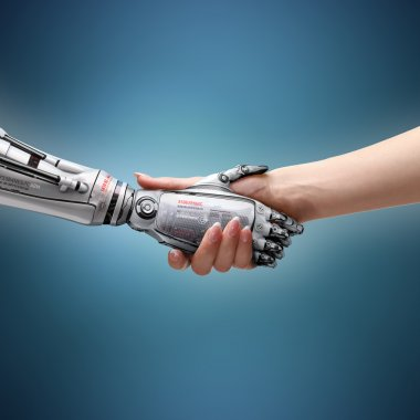 Female human and robot's handshake