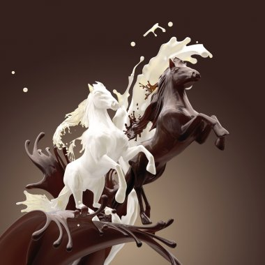 Creamy milky and coffee liquid horses