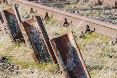Old standing up rusted railway steel,